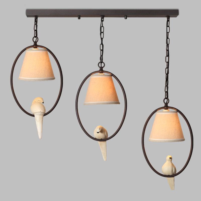 Moderm birds pendelleuchte 1/2/3 harz vogel weiß blau stoff pendelleuchte restaurant beleuchtung retro für wohnkultur lampe