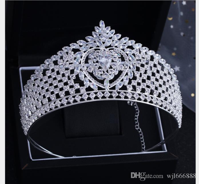 Corona de circón para novia Matrimonio Matrimonio Vestidos de novia Reina de la princesa corona