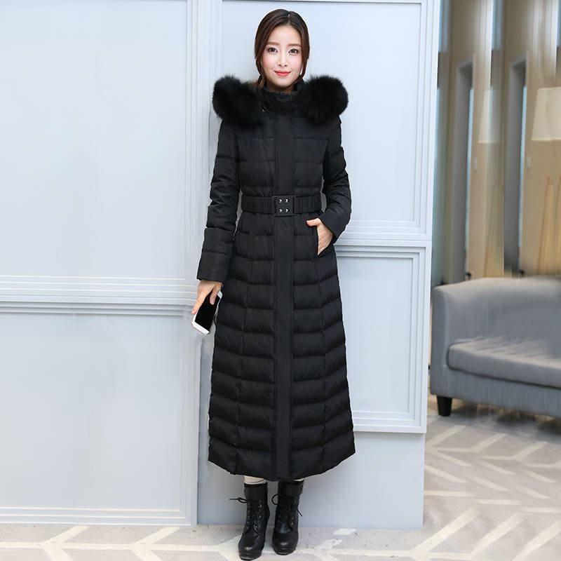 2019 새로운 겨울 여성 천연 모피 칼라 다운 재킷 따뜻한 두꺼워 화이트 다운 롱 코트 여성 느슨한 캐주얼 파카 C164 오리