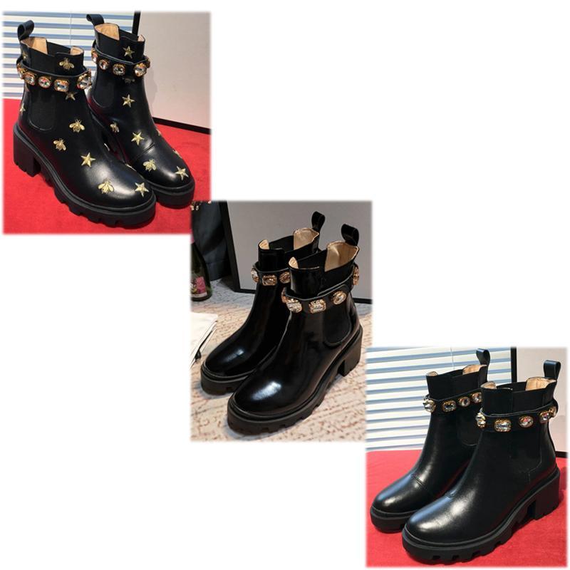 الأزياء الأسود المطرزة الجلود الأحذية الكاحل مع عبيد مرونة على كلا الجانبين لسهولة طماق العشاق، عشاق الحزب عالية الجودة