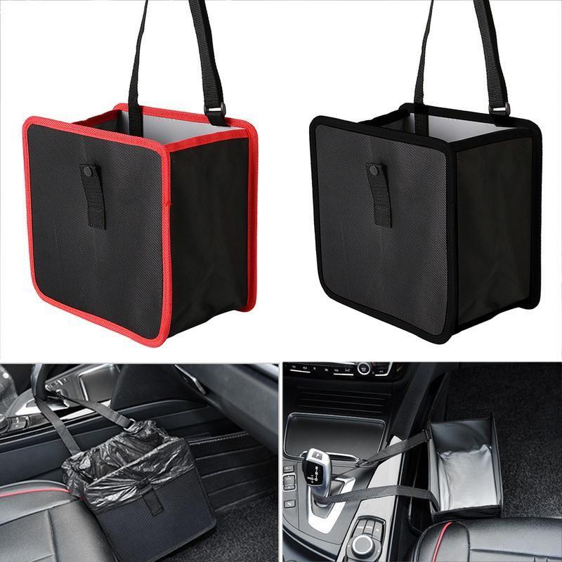 Red PERTTY Car Trash Bag Flexible Waterproof Leakproof Hanging Car Garbage Cans Trash Organizer