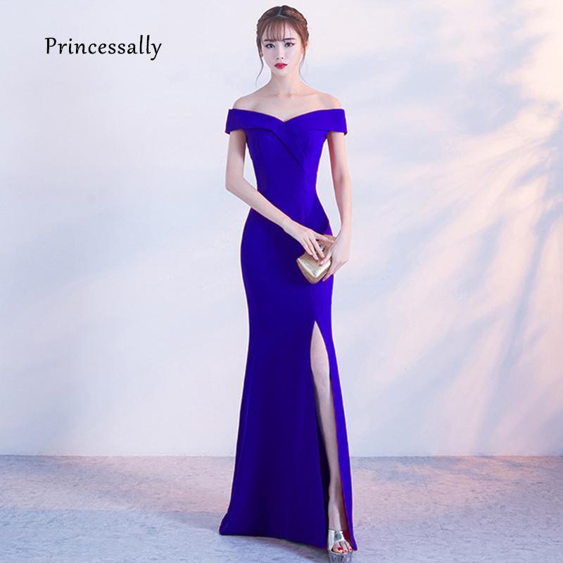 Nouvelle Elegante Sirene Robe De Soirée Etage Longueur Sexy Haute Fente Formelle Pas Cher Prom Robe De Soirée Robe De Soriee 2019 Nouvelle Arrivée Y19072901