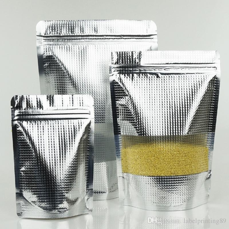 100pcs / lot Haute grade Silver Emboassed Stand up Sac de verrouillage ZIP 7Size Stockage des aliments Sac à fermeture à glissière avec fenêtre transparente