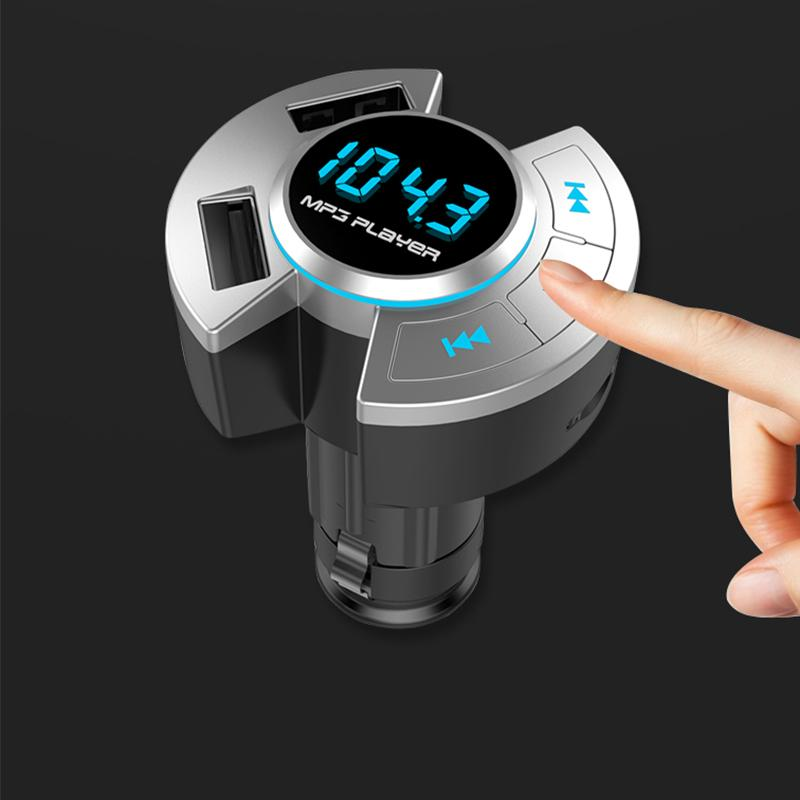 Car Bluetooth transmitter car MP3 player fast charge Dual USB TF card bluetooth handsfree sticker