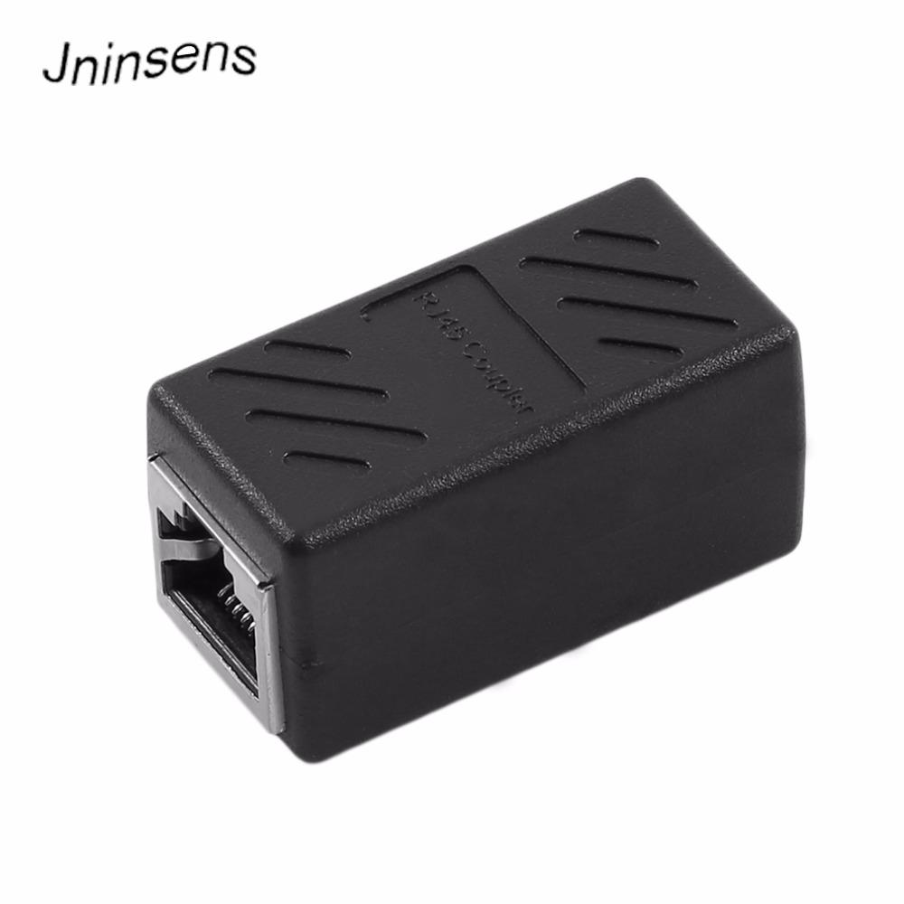 mucchio Plug connettori RJ45 Nero Coppia di estensione femminile all'adattatore Connettore femmina di rete LAN Extender Ethernet RJ45 convertitore di cavo ...