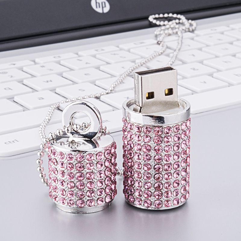 Klasik Popüler Kristal Elmas USB Flash Sürücü 128 GB Pendrive 4/8 / 16g Flash Disk 32 GB 64 GB Toptan Kristal Elmas USB Thumbdrives Bellek