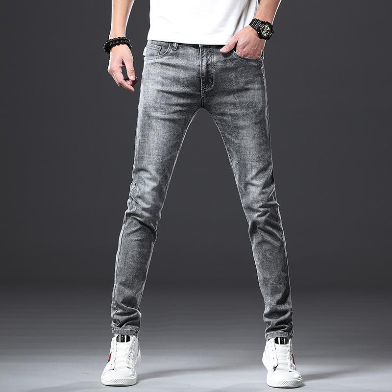 Men's Jeans Fashion Elastic Force Self-cultivation Bound Feet Pants Trend Leisure Directly Canister Long Pants Denim Male Jeans