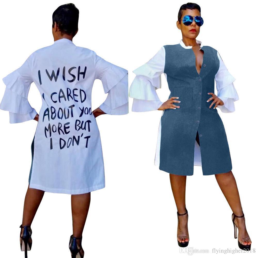 Cascading Ruffle Full Sleeve Casual Shirt Dress Autumn Back Letter Button Up Sexy Knee Length Dress Lady Fashion Vestidos