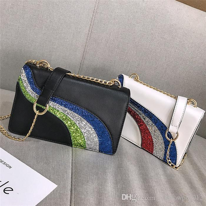 Factory wholesale women handbag new contrasting sequin chain bag street trend leather hand bag flip sequin decorative fashion bag