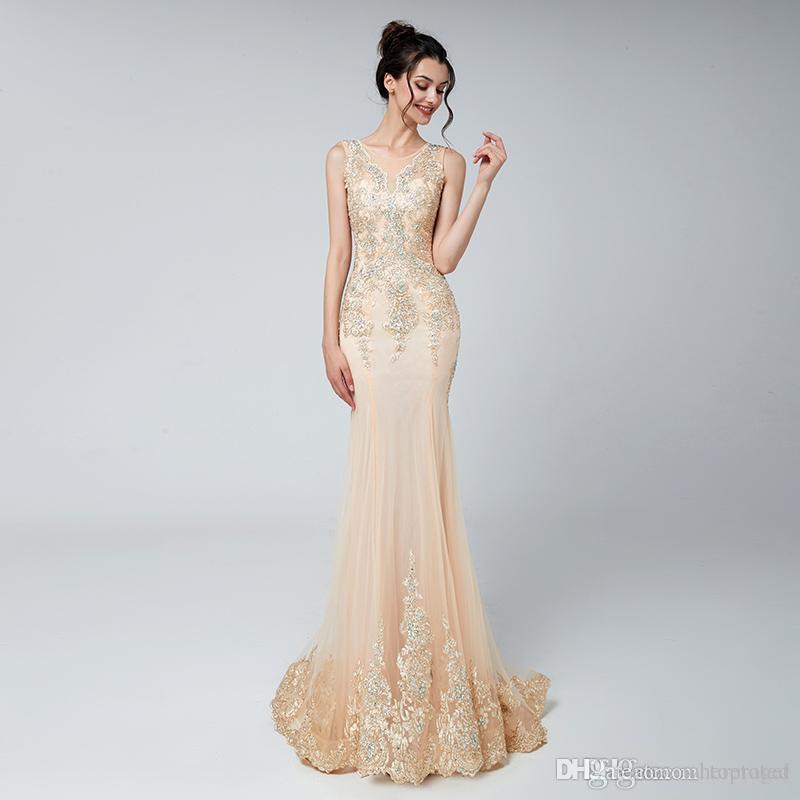2020 Generoso Lace apliques Mermaid Prom Vestidos Jewel frisada barato vestidos de noite Contagem Train Africano Vestidos cocktail Vestidos Lx526