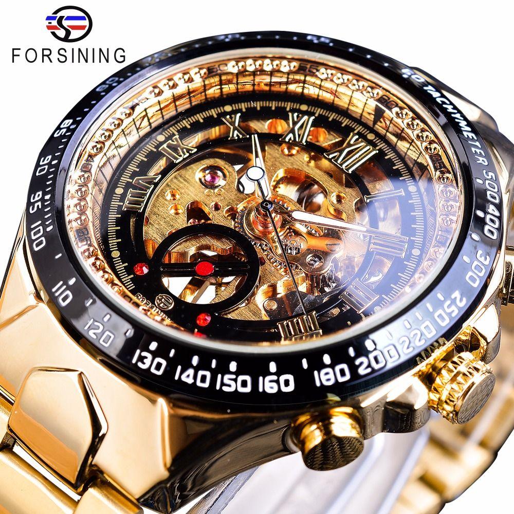 Forsining aço inoxidável série clássica transparente movimento dourado steampunk homens mecânicos esqueleto relógios top marca luxo