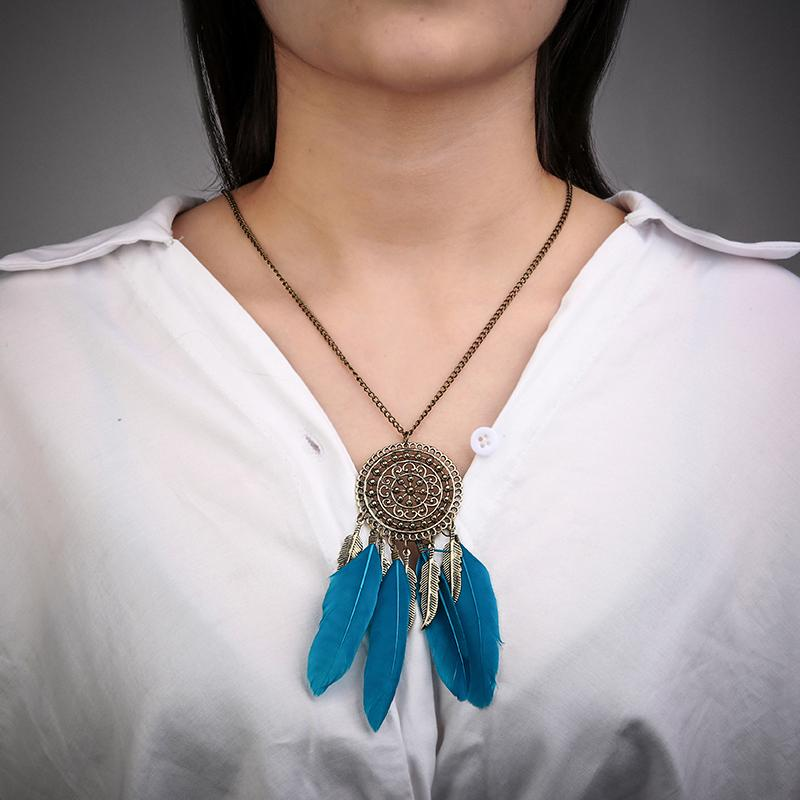 Fashion accessories jewelry Vintage Dream Catcher Leaves collier Pendant Necklace Girl Bib Chokers Pendants & Necklaces