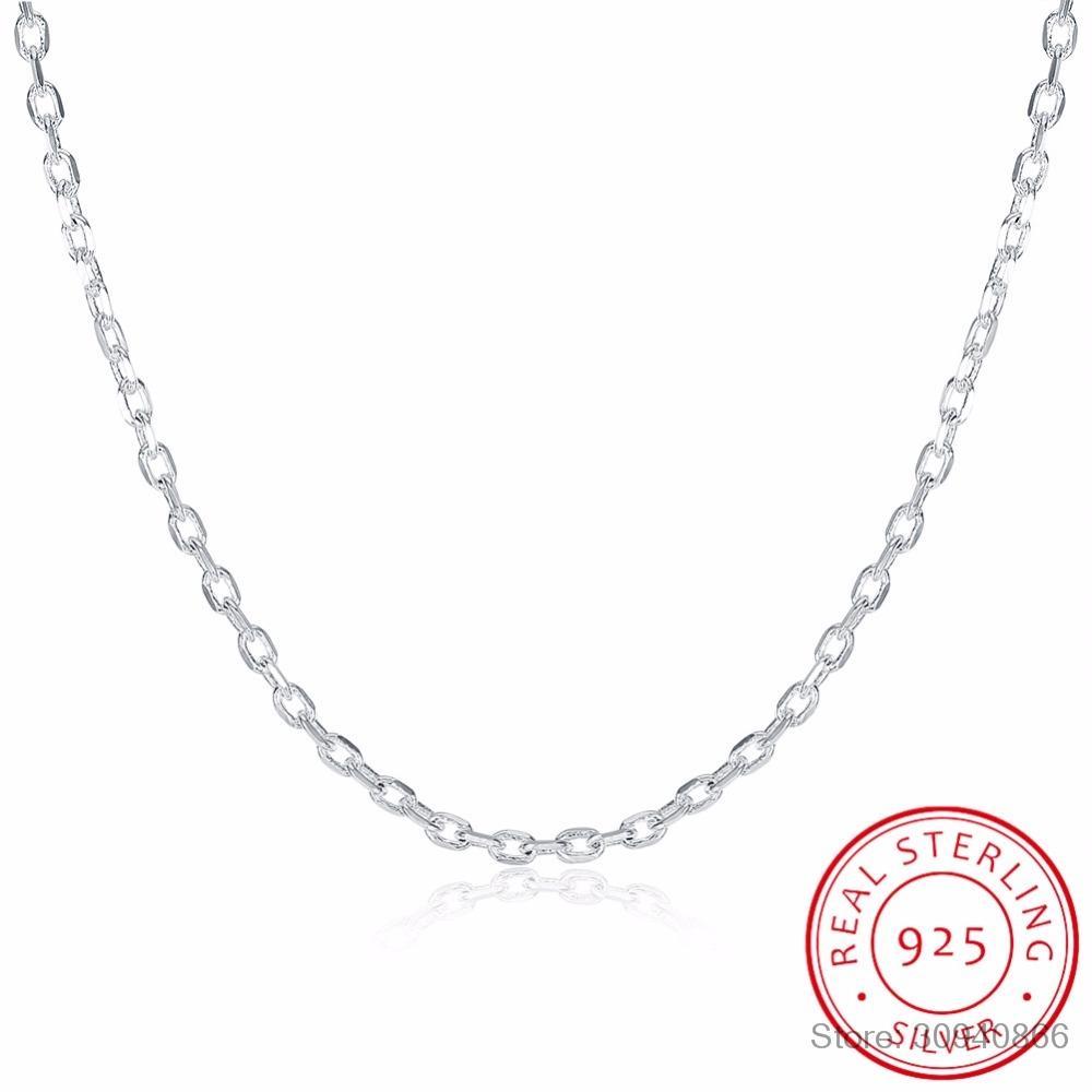 """Fine Jewelry 925 Sterling Silver Plano ROLO Cadeia de LEKANI Mulher Colar do encanto 2mm colar de prata largo 16 """"18"""" 20"""" 22"""" 24"""""""