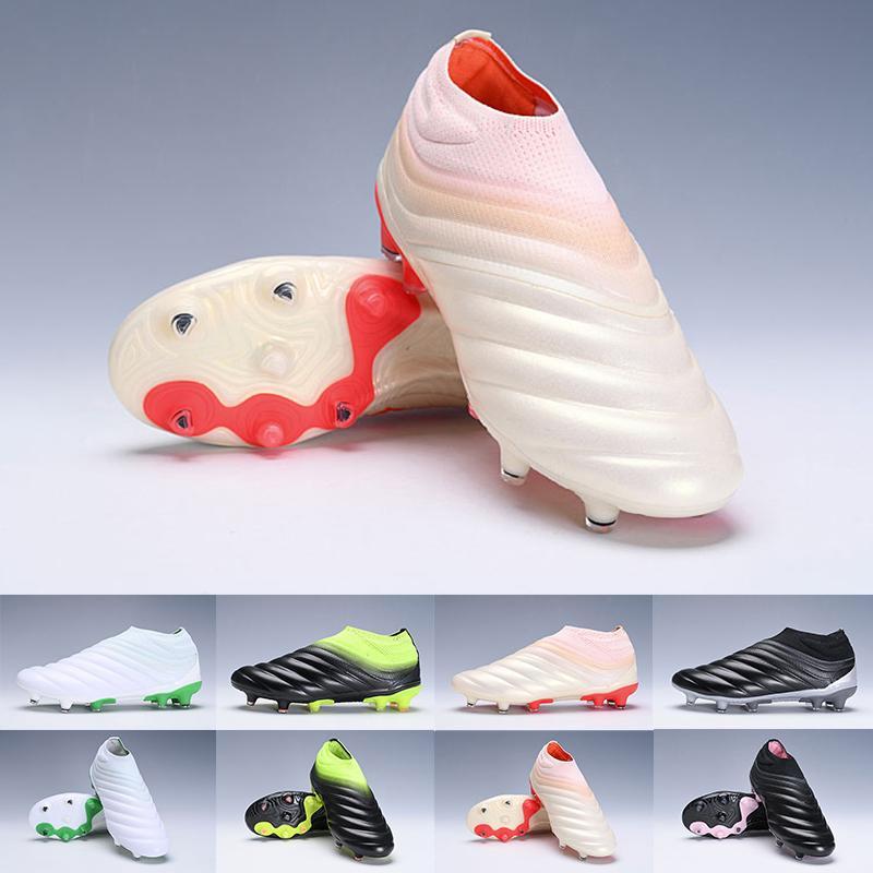 2020 New Designer Mens Copa 19+ 19,1 FG AG Fußballschuhe Copa Slip-On Champagne Solar-Rote Turnschuhe Fußball-Schuhe Stiefel Turnschuhe SZ39-45