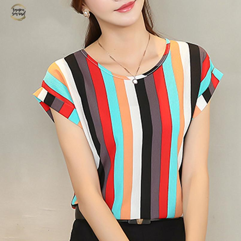 Frauen Bluse Shirt Mode Kurzärmlig Frauen beiläufige lose Chiffon- Blusen-Damen Chiffon- plus Größe Hemd-Spitze 39I B5 30