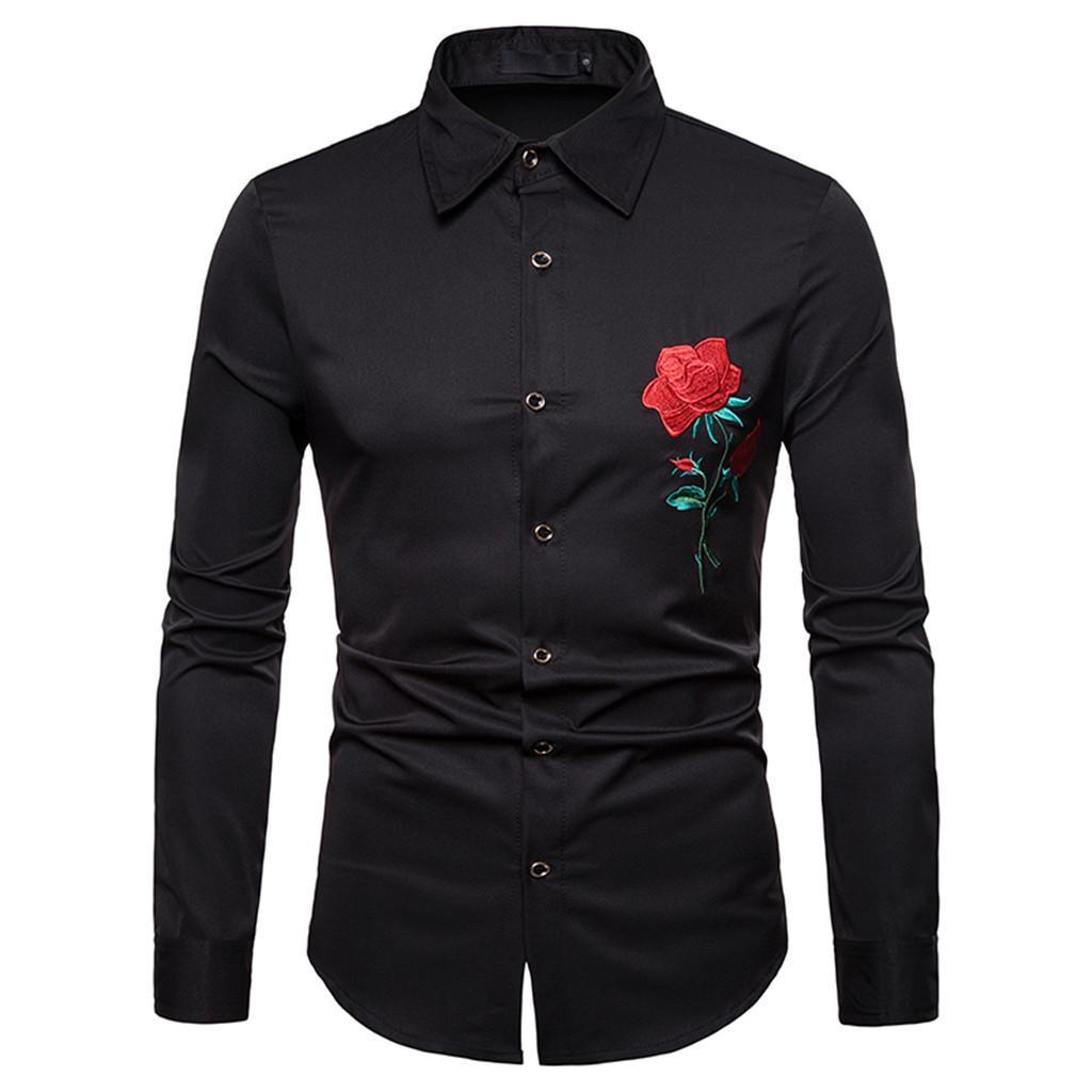 YOUYEDIAN 2020 Casual outono inverno dos homens do bordado do ouro camisa de manga comprida Top Blusa Nova chegada