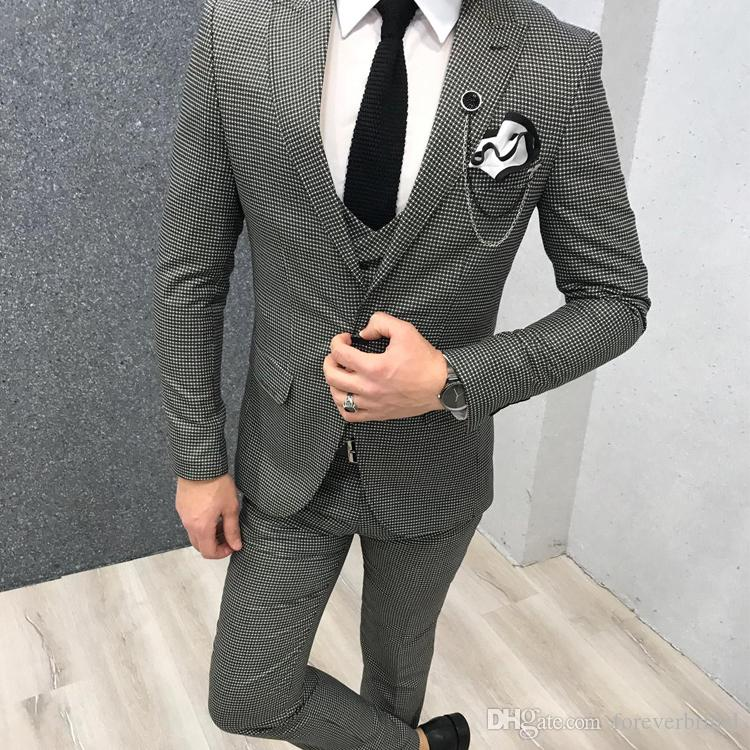 Classic Black And White Plaid Groom Wedding Tuxedos Slim Fit 3 Pieces Shawl Lapel Mens Pants Suits High Quality Designer Jackets