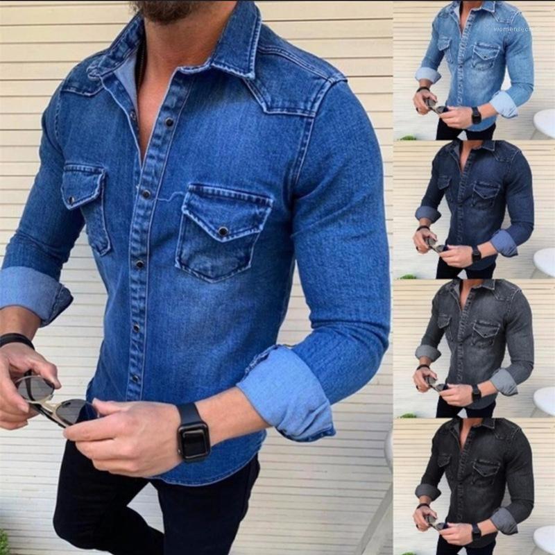 Revers Ausschnitt Einreiher Kleidung Männer Slim Fit Jacke Herren Solid Color Jeansjacke Multi Pocket