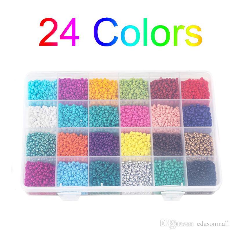 Gratuit DHL poney Perles pour bracelets petites Rocailles 24 couleurs Perles Faire Amitié Bracelets Bijoux Faire de bricolage avec boîte en plastique N61Y
