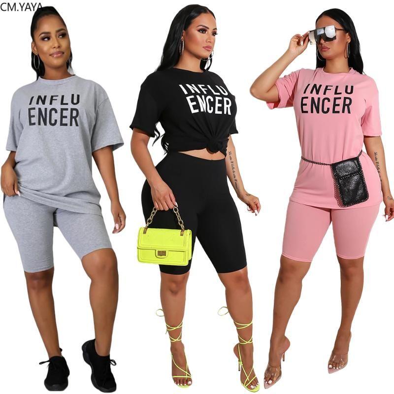 2020 Frauen Sets Sommer Tracksuits Fitness Buchstabedruck O-Ansatz Tops + Shorts Anzug Zweiteiler 2 PC Nachtsport Outfits GL44
