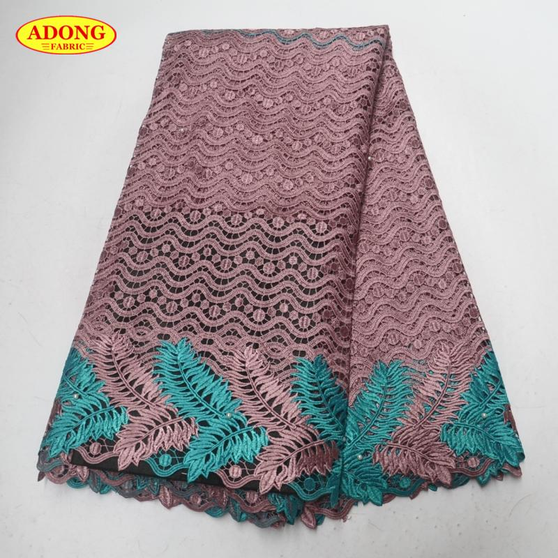 High-class African lace fabric Embroidery With Beads African Water Soluble lace fabric 5 yards/pcs high quality For Garmen dress