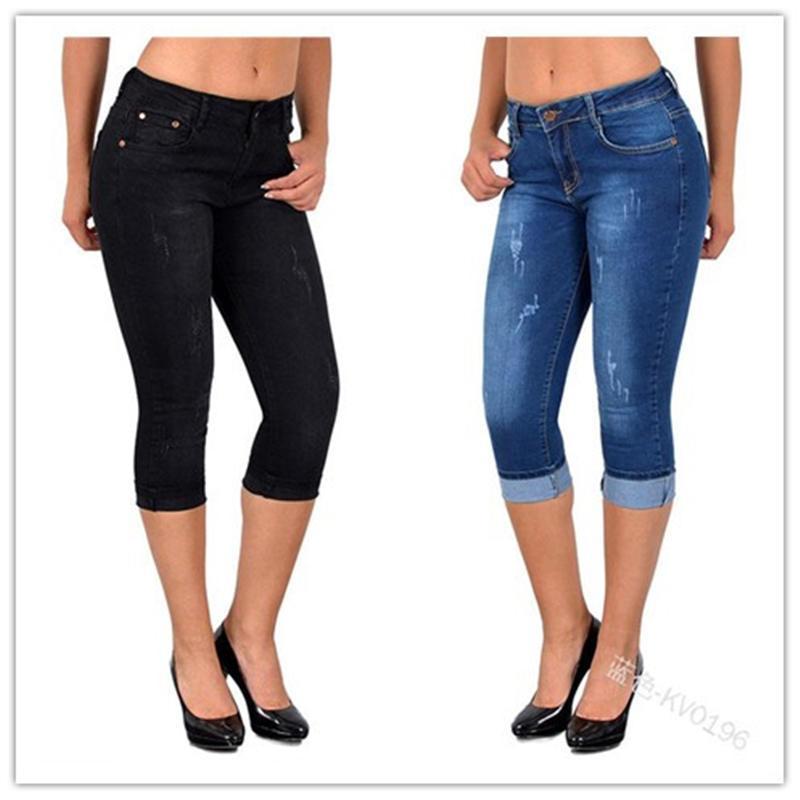 Femme Denim Jeans Femmes Capris Pantalons Collants doux sans couture Crayon Skinny Pantalons sexy stretch Slim Jeans