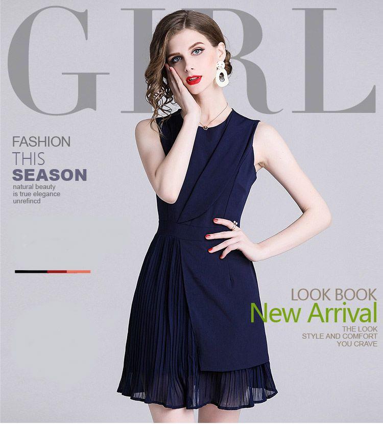 6fadedf1a5 Fashion New Spring Women's One Navy Blue Colour Dresses,Sexy Sleeveless  Dress,Crew Neck ...