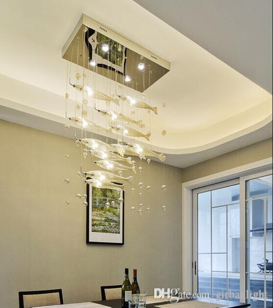 Forme du poisson à la main en verre soufflé Lustre Lumière moderne Verre Cristal Salon Décor de luxe en verre design moderne Art Lustre