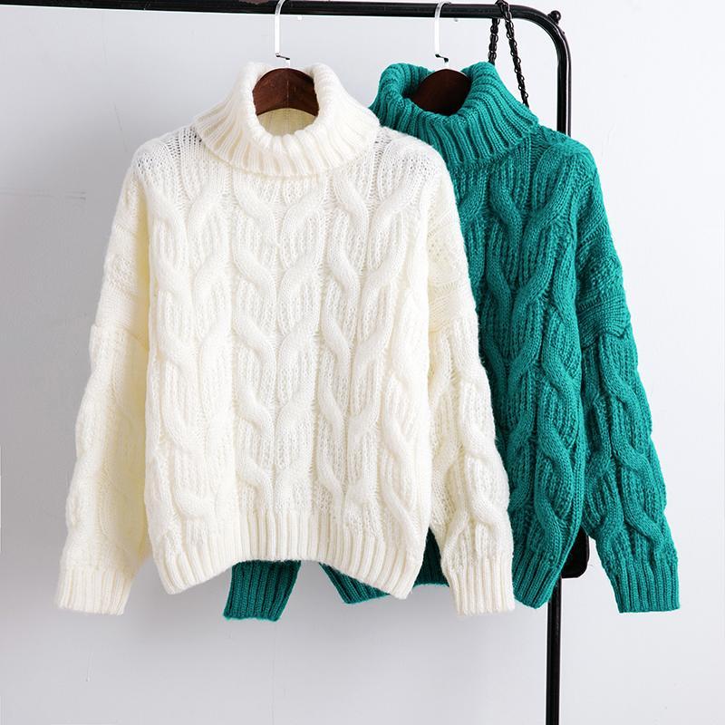 White Turtleneck Sweater Female Thick Loose Short Design Blue Yellow White 2019 Warm Sweater Women Fashion Tops T191230