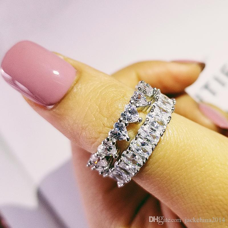 2 piezas de pares del anillo conjunto de joyería lindo Topaz blanco Diamante CZ piedras preciosas eternidad anillos de las mujeres novia de la boda 925 OAVL Corte de lujo