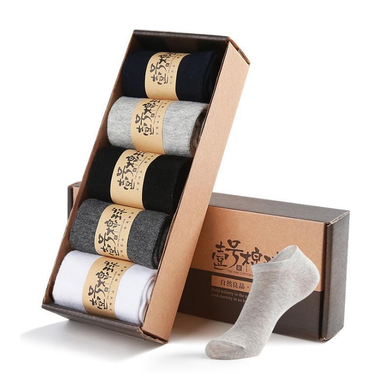 2019 Yeni erkek Yumuşak Katı Renkler Çorap Erkek keskin-yüksek pamuklu çorap 5 pairs Adam AB boyutu 39-43