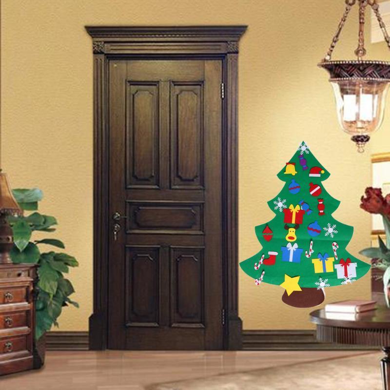 2017 Fieltro de bricolaje de Navidad Conjunto de árbol con los ornamentos colgantes de New Kids regalo de los niños del niño de preescolar puerta de la pared de la decoración de Navidad Craft