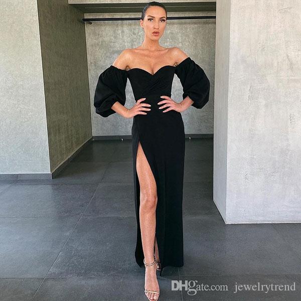 Nova Europa Moda Womens Casual Shoulder vestido de festa luva Lantern Off alta Slit Sexy Magro Vestido C5136