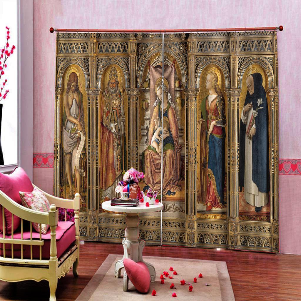 Sur mesure toute taille chiffres architecturaux européens Rideaux pour Salon Chambre des stores opaques Ensembles 2 panneaux avec crochets
