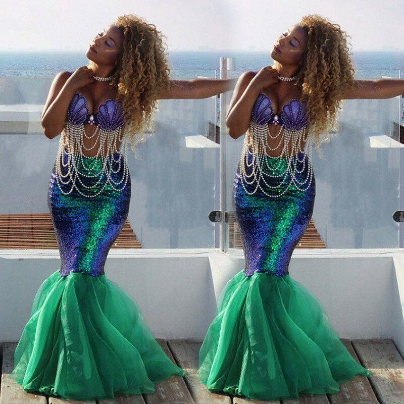 Goocheer New Arrival Sexy Womens Mermaid Tail Full Skirt Sequins Party Shining Chic High Waist Bodycon Cosplay Fancy Skirt