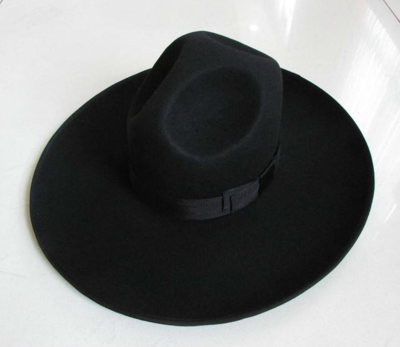 100٪ الصوف فيدورا قبعة واسعة حافة 12 سنتيمتر الصوف قبعة الأزياء الصوف الأسود شعرت قبعة فيدورا الصوفية قبعة الفروسية B-8127 Q190417