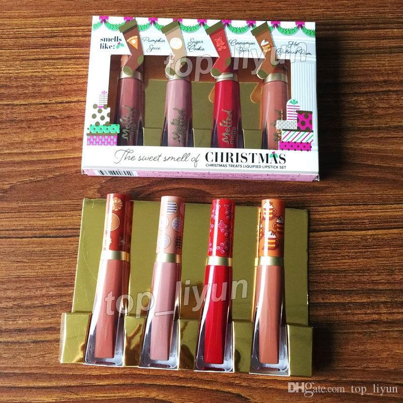 Maquiagem Beleza Natal Batons O Cheiro Doce de Natal Trata Lustroso Batom Set Lip gloss 4 cores Derreter Batom Fosco DHL