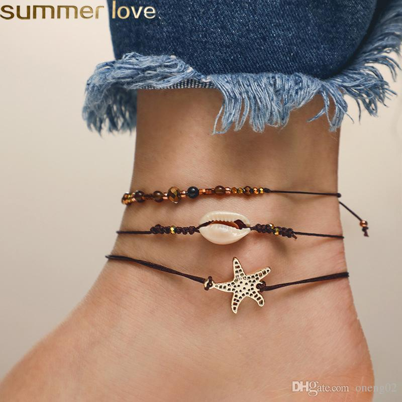 New Seashell Pendant Anklet Beads Shell Bracelet For Women Starfish Barefoot Sandal Statement Bracelet Foot Chain Boho Beach Jewelry