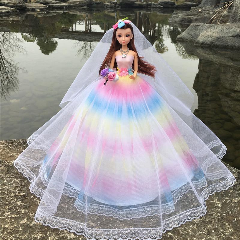 Wedding Dress Barbie Doll Tailing Rainbow Skirt Bride Exceed Tuba 45 Centimeter Together Land Vehicle Girl Gift Product