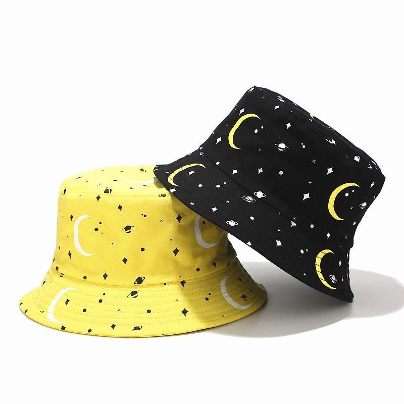 chapéu de balde de algodão estampado céu lua Lvyi 049 Mulheres Floral Verão Adulto casuais algodão cap pescador gorros panamá para o feriado