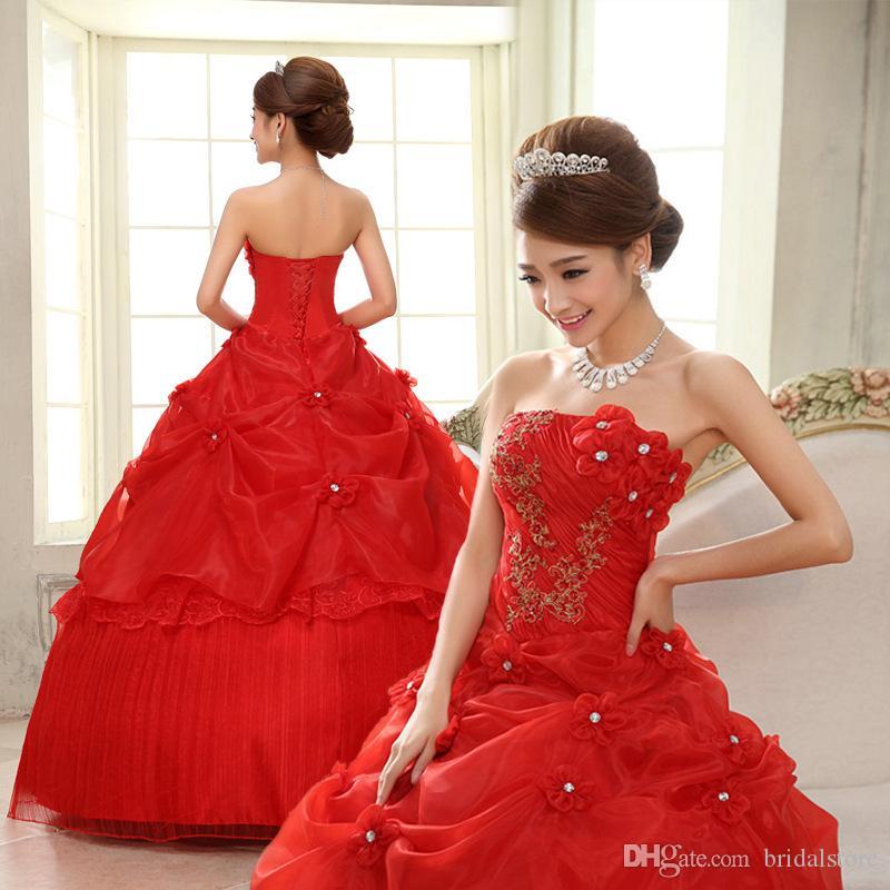 뜨거운 판매 저렴한 웨딩 드레스 신부 가운 2019 층 길이의 연인 레드 화이트 핑크 볼 가운 웨딩 드레스 골동품 골동품