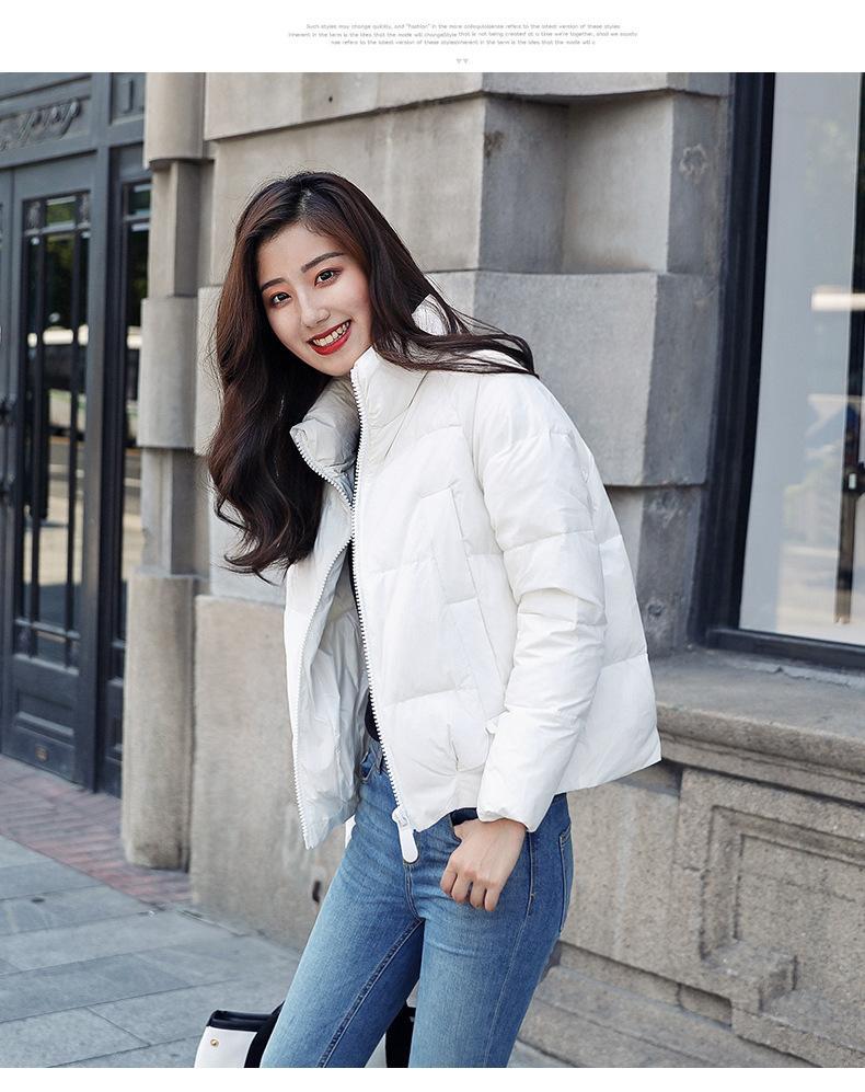 Invierno 2018 nuevas Corea mujeres del collar de Puffer abajo rectas desfile de moda de la chaqueta delgada estilo corto fácil para que coincida con la marea chaqueta