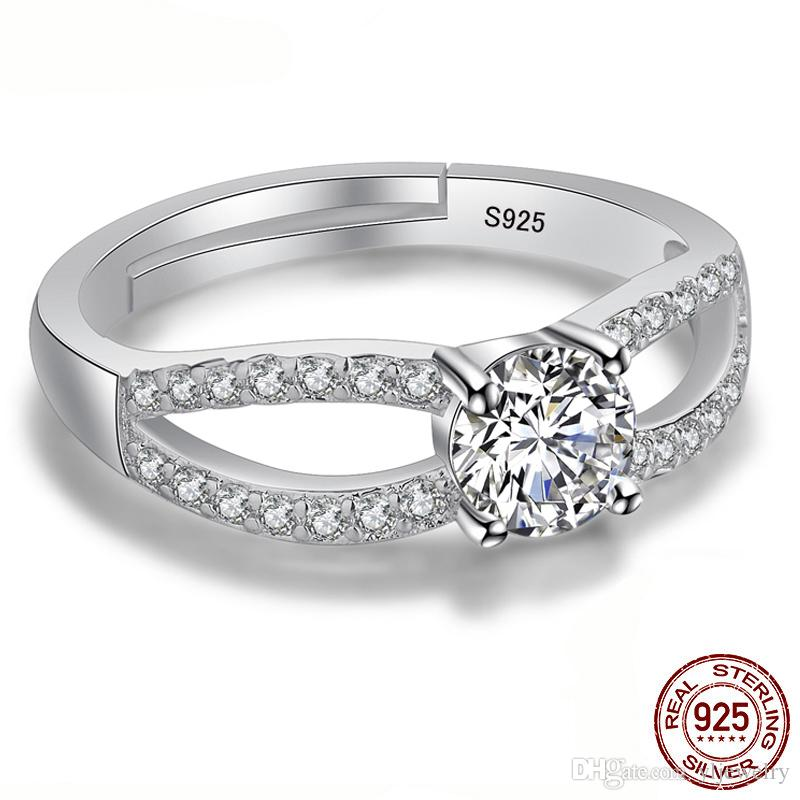 Solid Real 925 Sterling Silver Rings With 5.25mm CZ Diamond for Women Matching Rings Adjustable Ring Jewelry Gift XR241