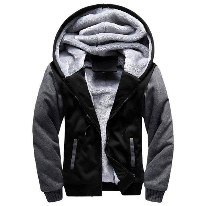 2020 Yeni Erkekler Kapüşonlular Kış Kalın Sıcak Fleece Fermuar Erkekler Kapüşonlular Coat Sportwear Erkek Streetwear Hoodies Sweatshirt Erkekler 4XL 5XL Y200704