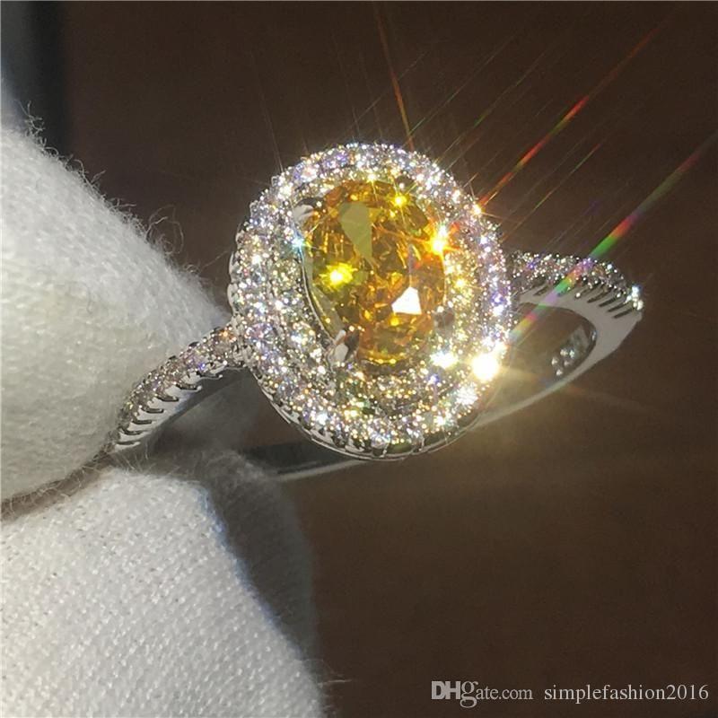 2018/19 Anillo de aniversario femenino clásico 2ct 5A Zircon Cz 925 anillos de boda de plata esterlina para mujer joyería nupcial