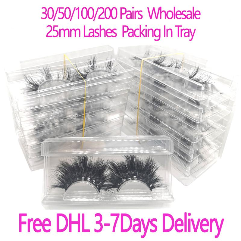 30/50 / 100 / 200Pairs Großhandel 25mm 3D Mink Wimpern 5D Mink Lashes Verpackung In Tray Label-Make-up Dramatisch Lang Mink Lashes