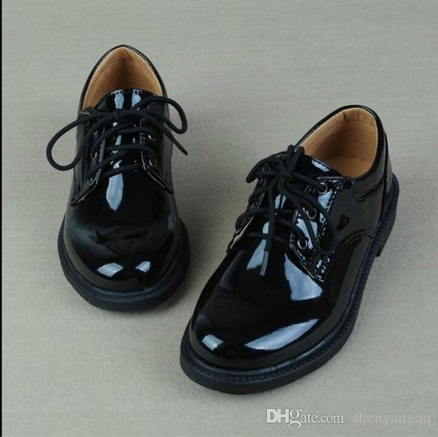kids shoes New Children Leather Shoes for baby Boys Dress Black Flats Dancing Wedding Lace Up PU Leather School Students Shoes