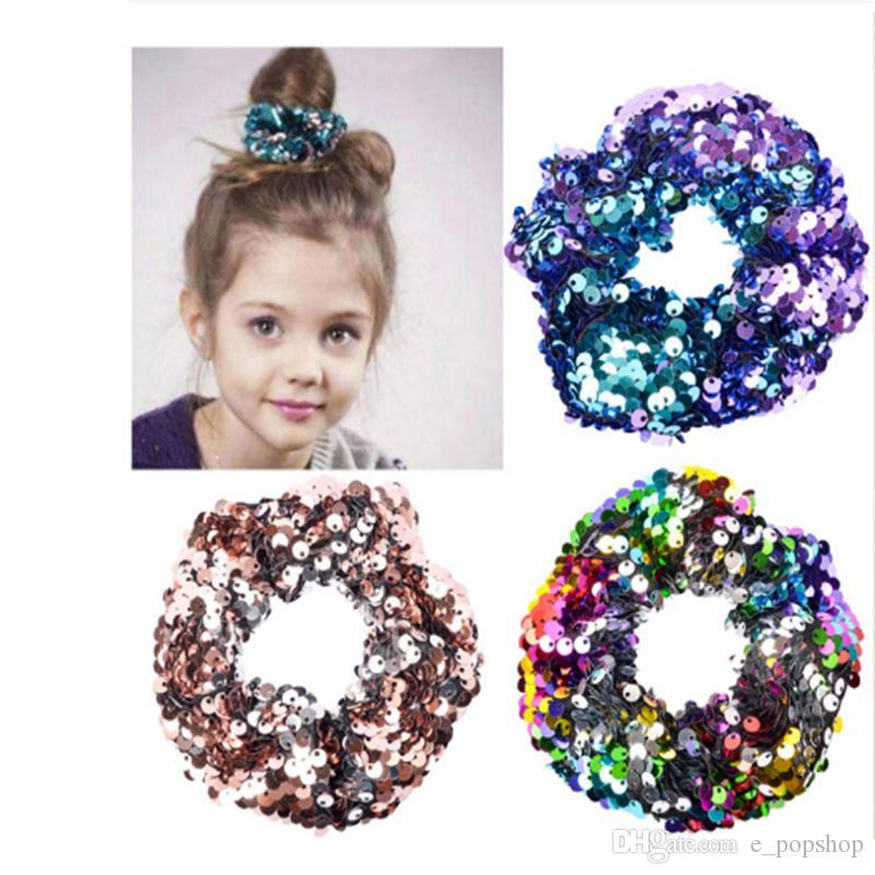 10 styles sirène réversible bande de cheveux sequin enfants bandeau Princesse cravate cheveux charme Scrunchie Ponytail accessoires pour cheveux EJY943