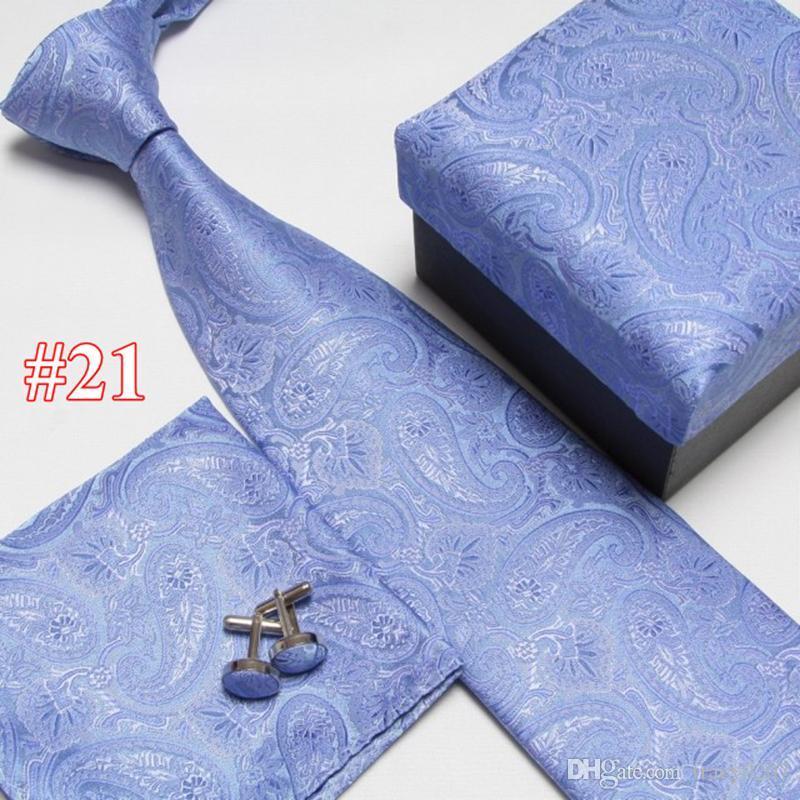 2020 cravate ensemble cou cravate boutons de manchette carrés de poche les cravates des hommes Cravate en soie polyester 21 de style boîtes-cadeaux sont emballés individuellement