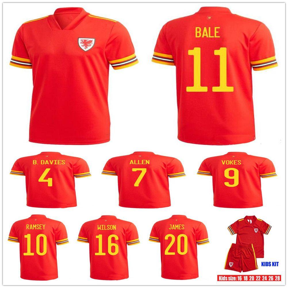 Erkek + Çocuklar 19 20 Galler Futbol Jersey 11 Gareth Bale 10 RAMSEY VOKES ALLEN JAMES WILSON B.DAVIES özelleştirme 2020 Ev Kırmızı Gençlik Futbol Gömlek
